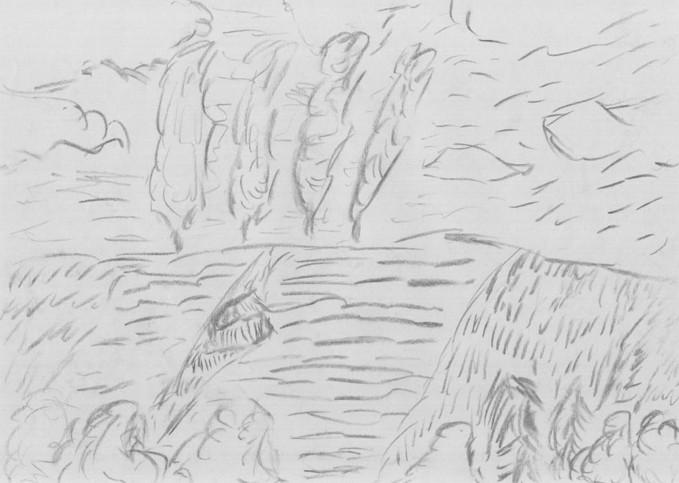 """Studie zu """"Acker am Hang"""" (2013, Kohlezeichnung, 21 x 29,7 cm, A4)"""