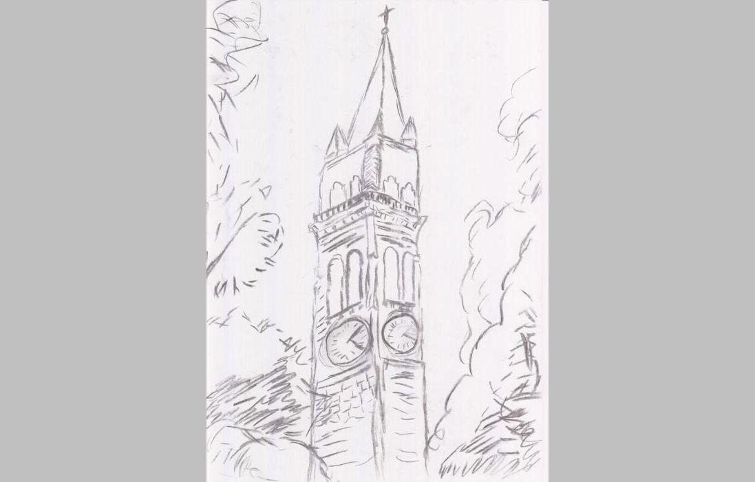 Schweizer Kirchturm (2012, 21 x 29,7 cm, A4)