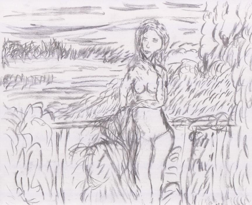 """Studie zu """"Am See so frei"""" (2012, 21 x 29,7 cm, A4)"""
