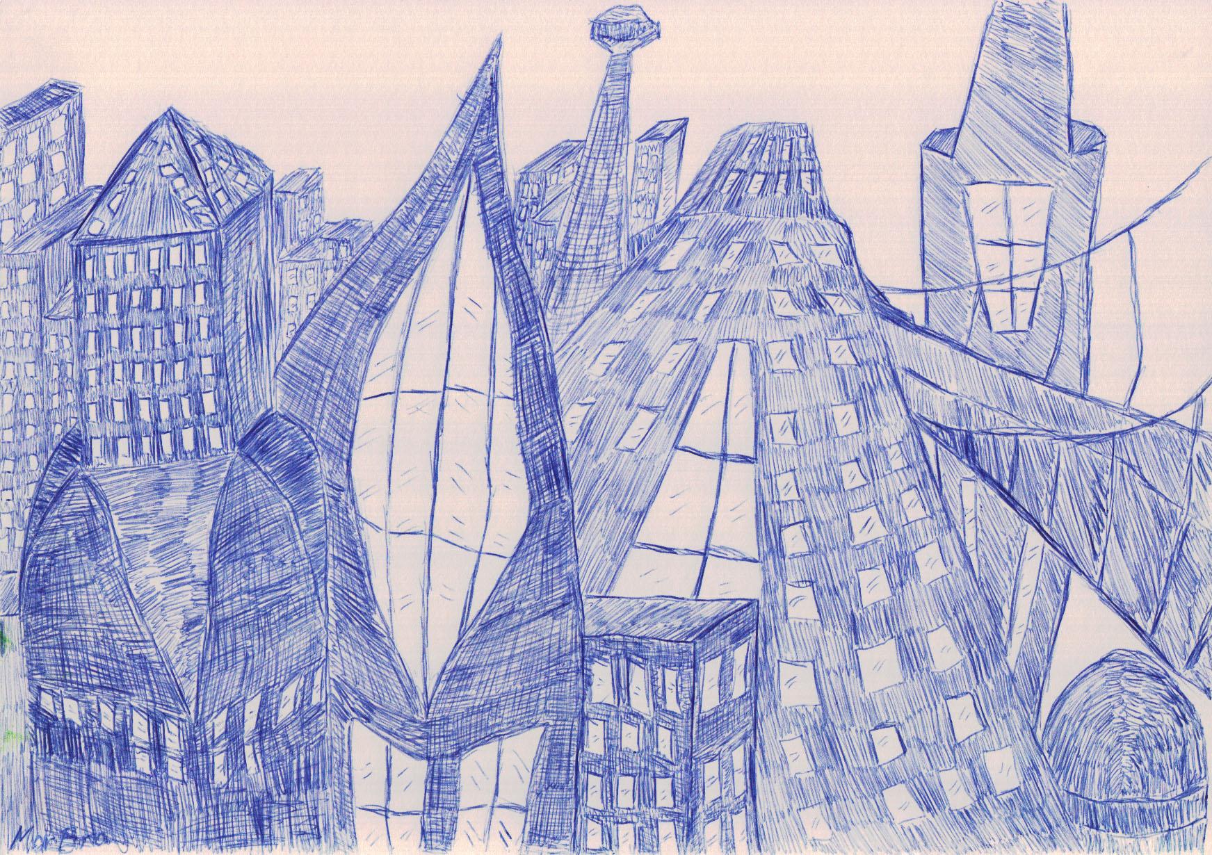 Futuristische Stadt (1, 2012, 21 x 29,7 cm, A4)