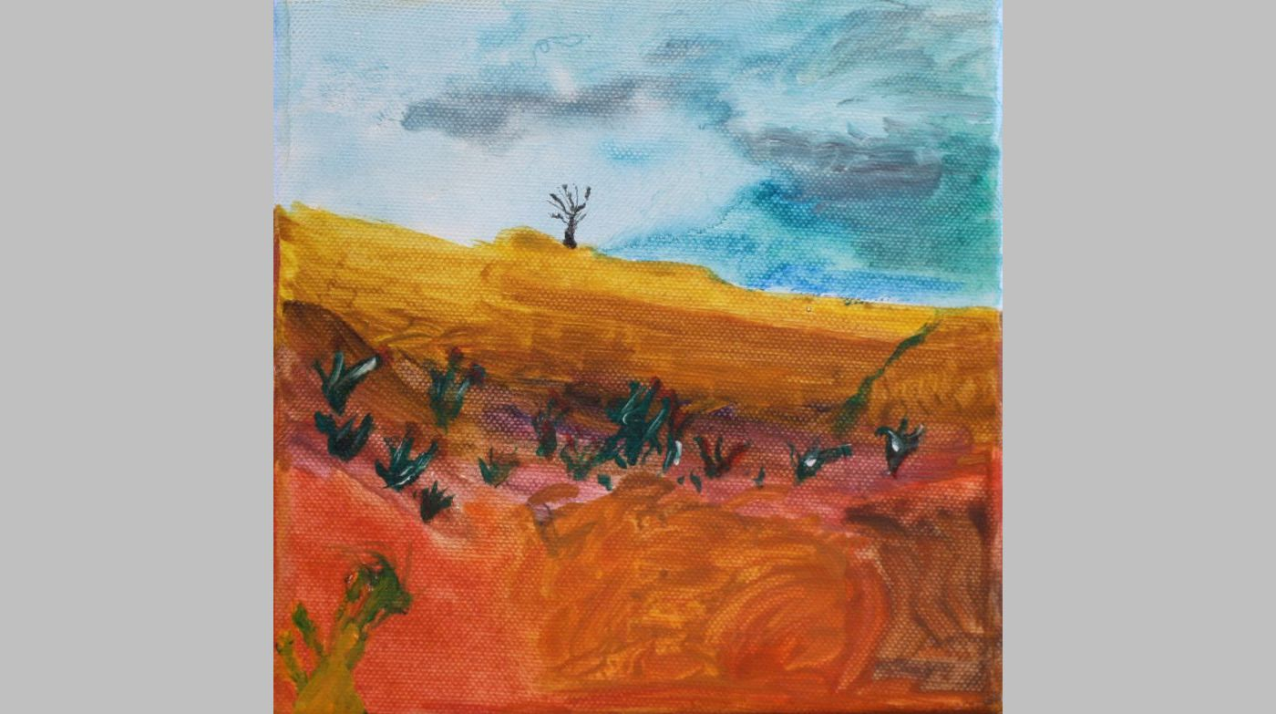 Eine Feld- und Wiesenlandschaft (2005, 15 x 15 cm)