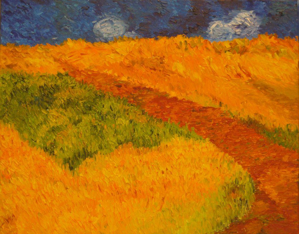 Kornfeld und Weg (2007, 40 x 50 cm)