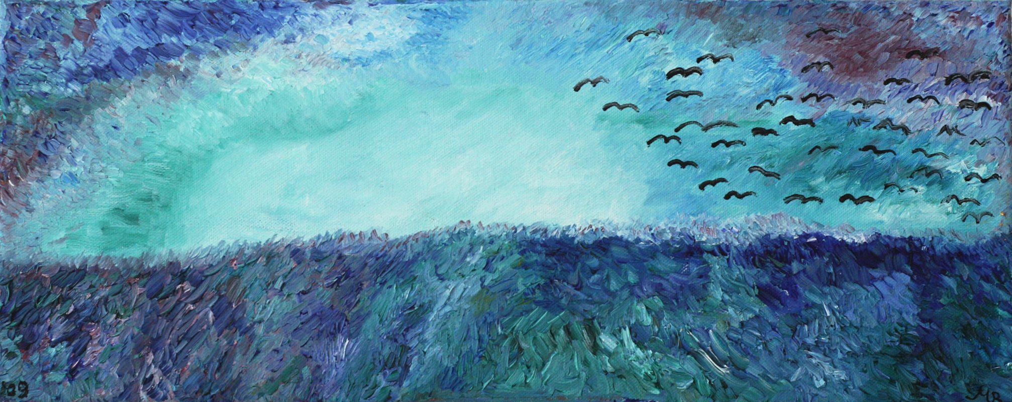 Tosendes Meer und Zugvögel (2009, 20 x 60 cm) vergeben