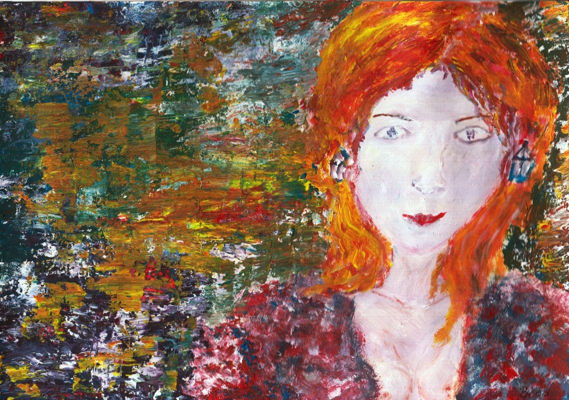 Halbakt auf abstraktem Grund (2013, 21 x 29,7 cm, A4)