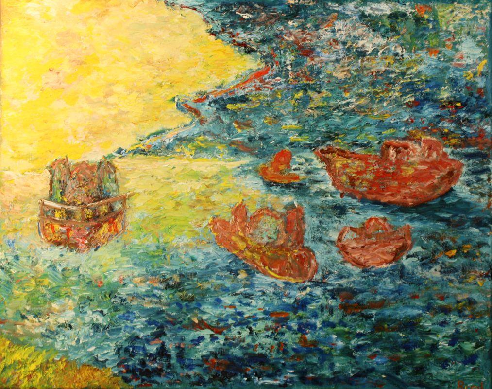 Schiffe auf hoher See (2013, 40 x 50 cm)