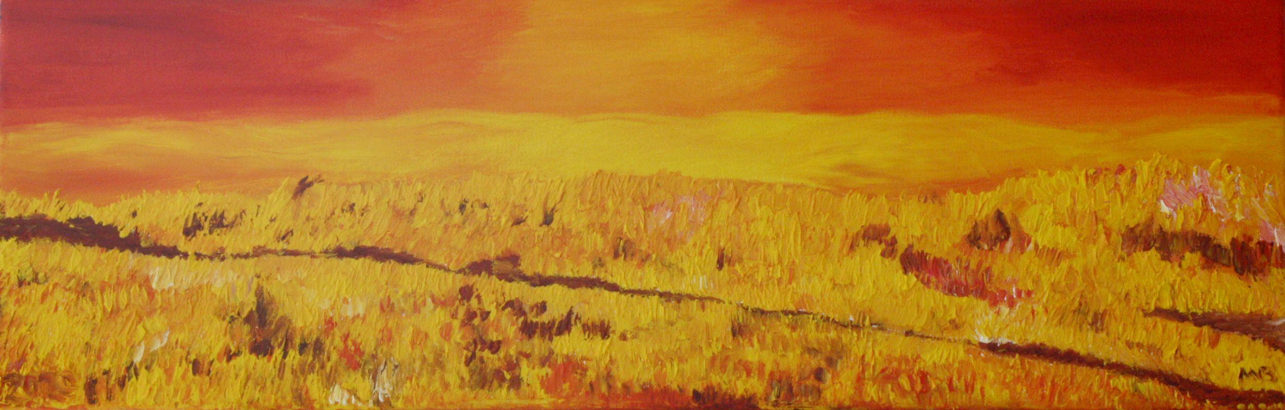 Sonnenuntergang auf dem Kornfeld (2009, 20 x 60 cm) vergeben