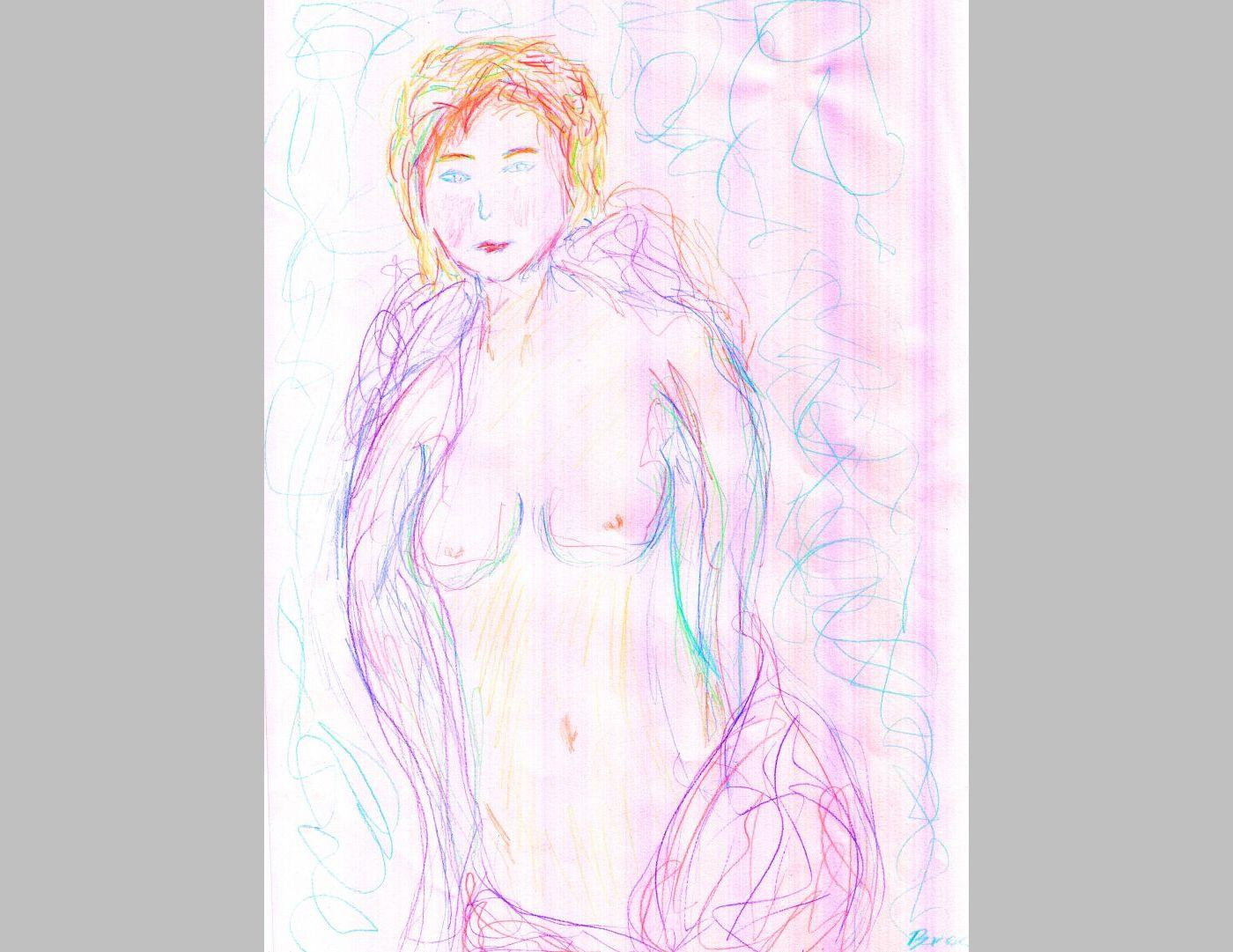 Nachdenkliche Schönheit (Halbakt 2014, 21 x 29,7 cm, A4)