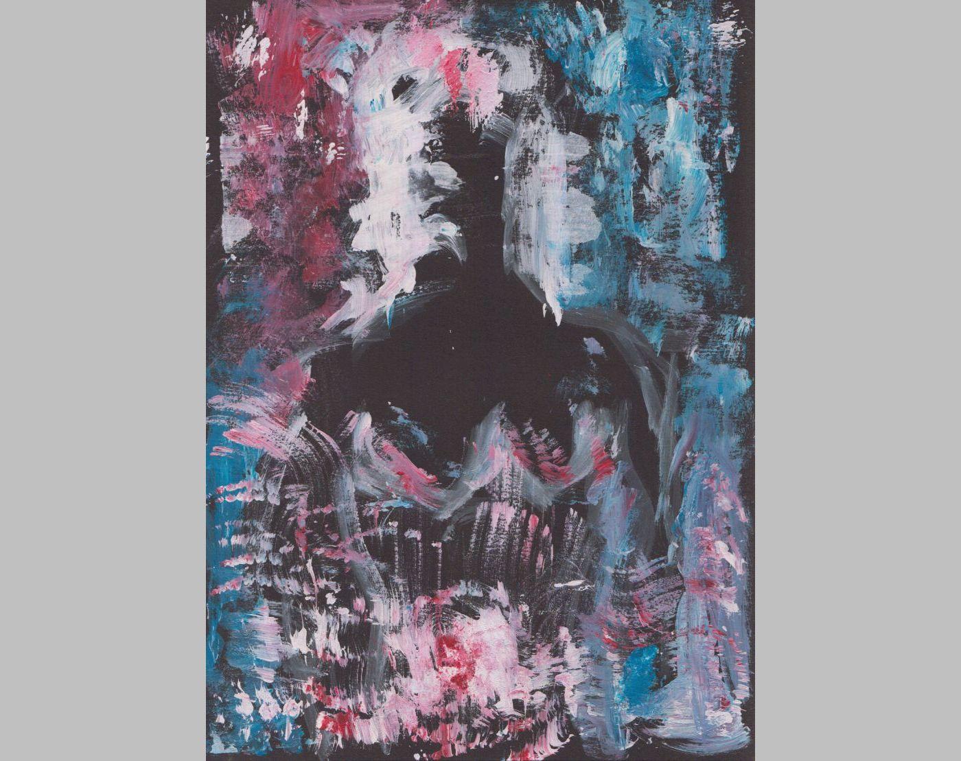 Frau, von Abendkleid verschleiert (2014, 21 x 29,7 cm, A4)
