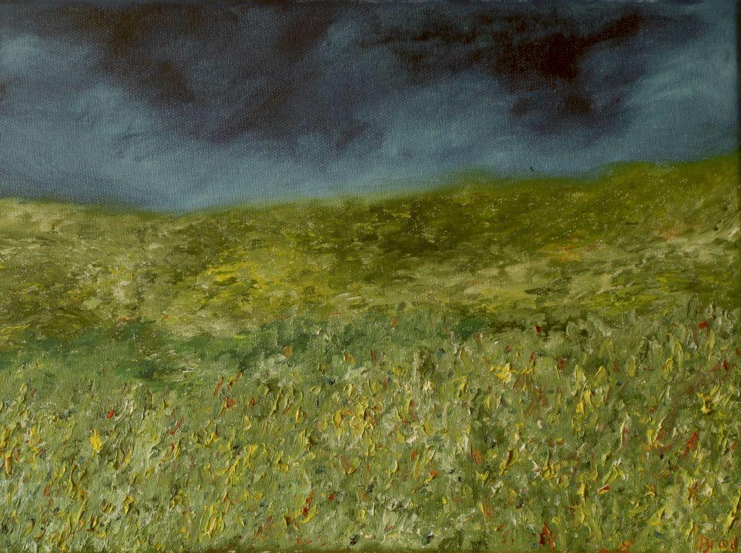 Aufziehendes Gewitter auf dem Feld (2015, 30 x 40 cm)