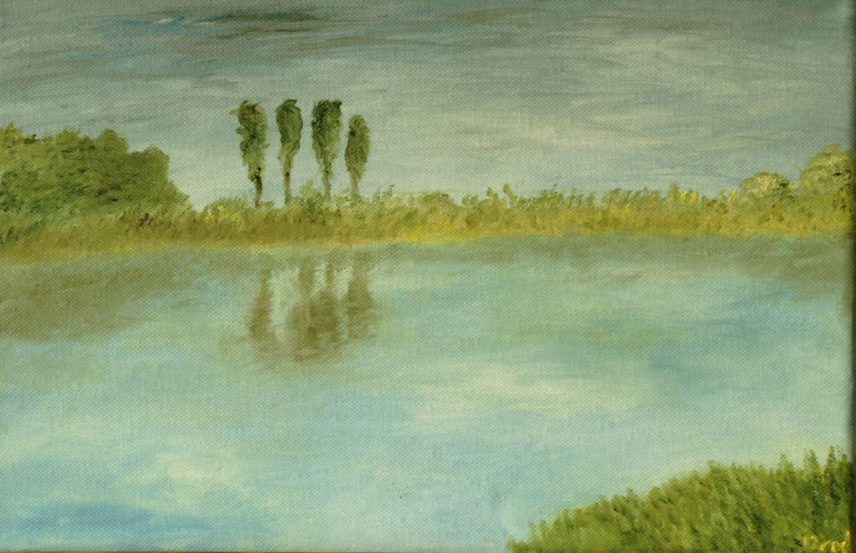 Fluss und heran nahendes Unwetter (2016, 20 x 30 cm)