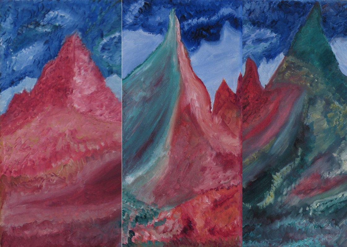 Triptychon (3-teilig, 2009, je 10 x 25 cm)