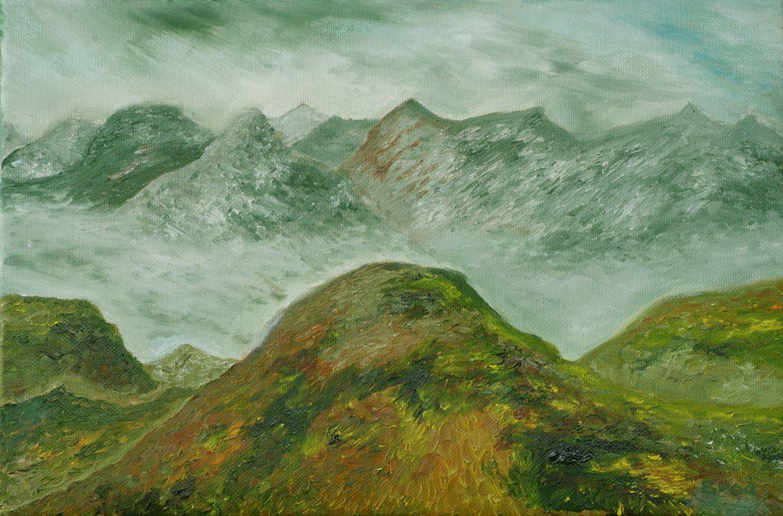 Nebelverhangener Gebirgszug (2010, 20 x 30 cm)