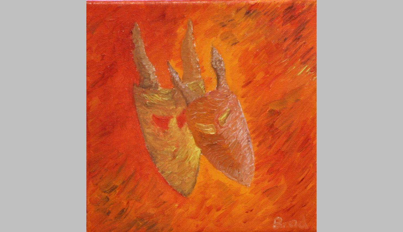Gehörnte Masken (2012, 20 x 20 cm)