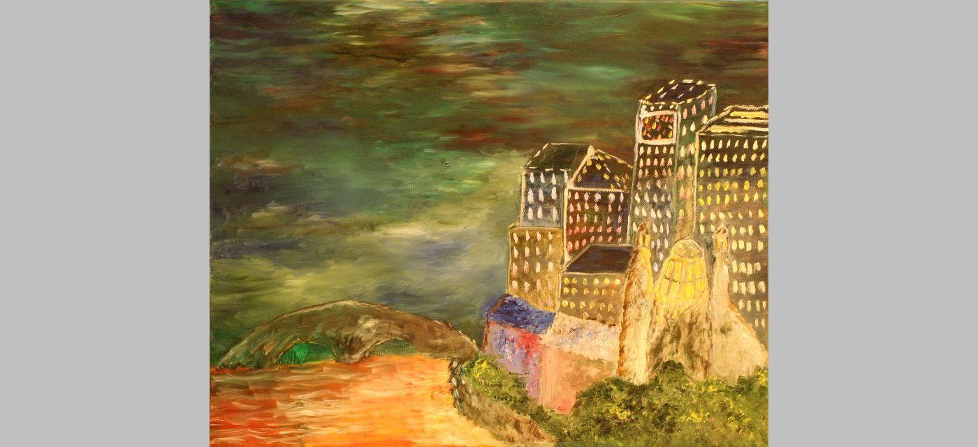 Stadt bei Nacht (abstrakt, 2012, 40 x 50 cm)
