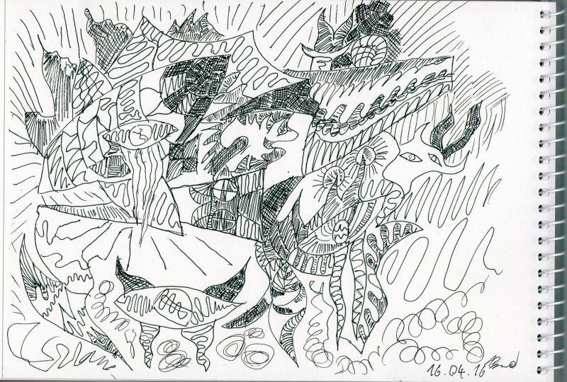 Zeichnung, Skizze zu Aquaristica (16.04.2016, 14,8 x 21 cm, A5)