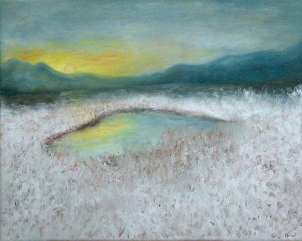See im Winter bei Sonnenaufgang (2016, 40 x 50 cm)