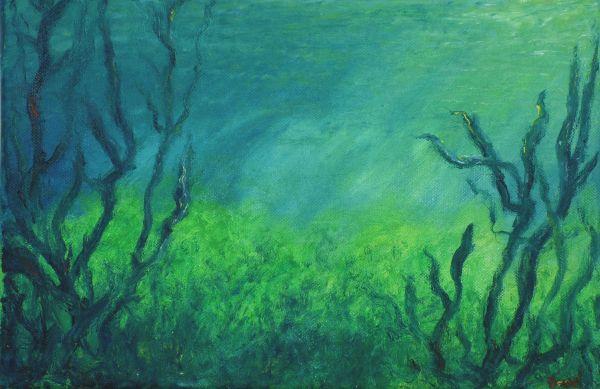 Tümpellandschaft unter Wasser (2016, 20 x 30 cm)